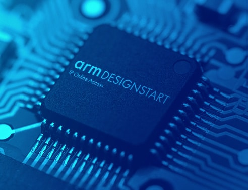 Image of chip with Arm DesignStart logo