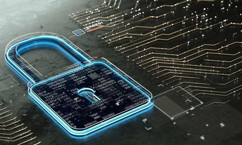 A padlock representing secure IoT
