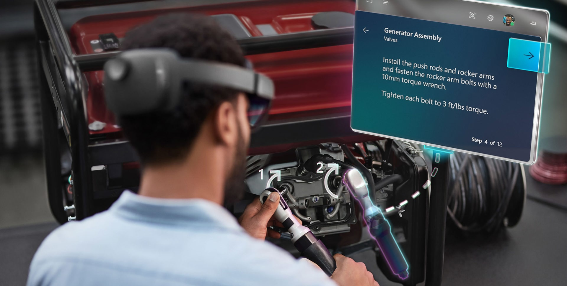 A Hololens 2 user in automotive application