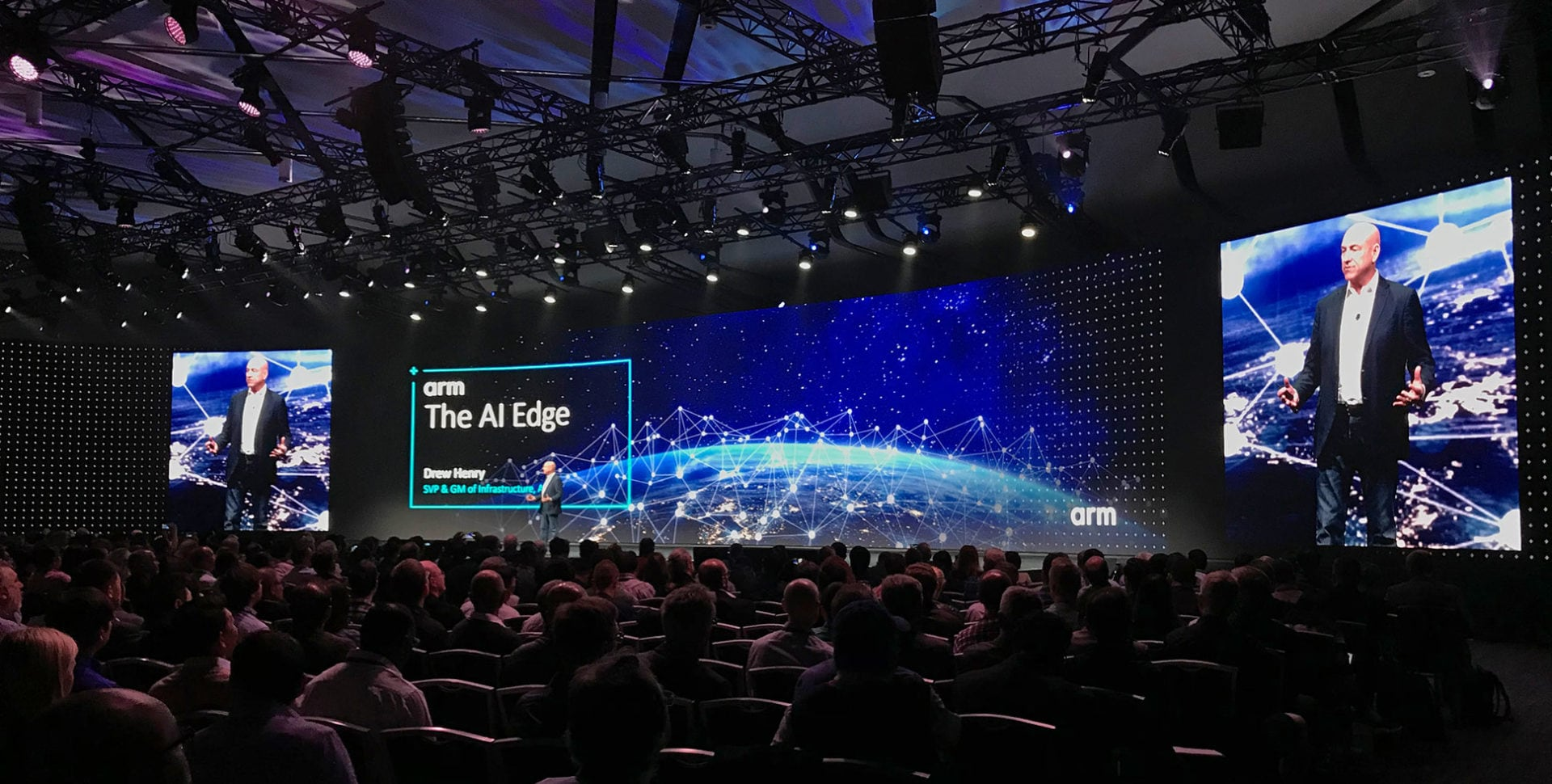 Drew Henry on stage at Arm Techcon 2019